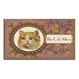 Cartão de visita do gato do vintage