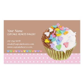 Cartão de visita dos corações do cupcake