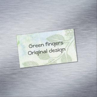 Cartão de visita dos dedos verdes