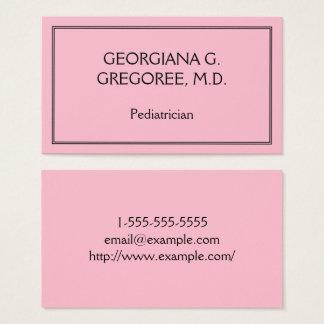 Cartão de visita elegante e básico do pediatra