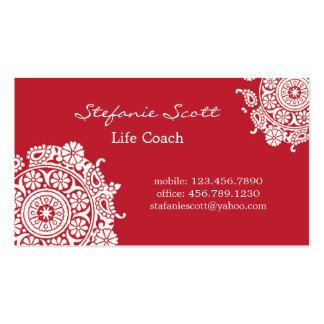 Cartão de visita elegante em vermelho e em branco