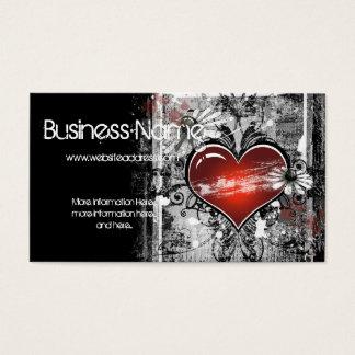 Cartão de visita escuro 3 do design do coração do