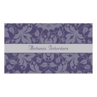 Cartão de visita floral cinzento roxo do damasco d
