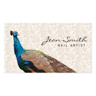 Cartão de visita floral da arte do prego do pavão