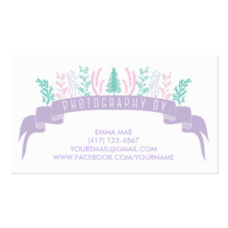 Cartão de visita floral roxo da fotografia