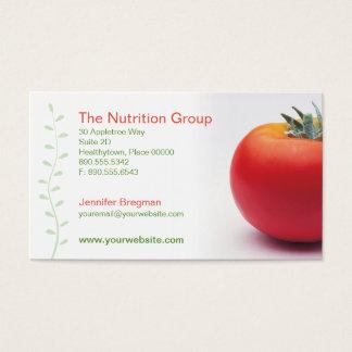 Cartão de visita grande do nutricionista do tomate