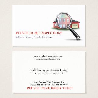 Cartão de visita Home do inspector da inspeção