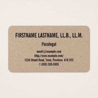 Cartão de visita limpo & básico do Paralegal