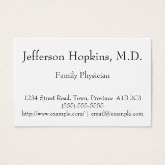 Cartão de visita limpo e mínimo do médico de