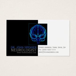 Cartão de visita médico dos cérebros azuis do