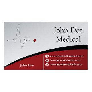 Cartão de visita médico vermelho e de prata