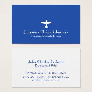 Cartão de visita moderno azul branco da aviação do