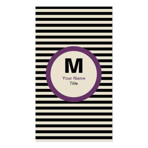 Cartão de visita moderno do monograma da listra -