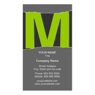 Cartão de visita moderno do monograma - verde/cinz