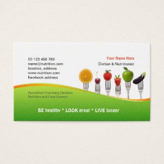 Cartão de visita para a dietista & o nutricionista