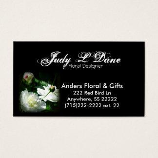cartão de visita--peônia floral, fundo preto