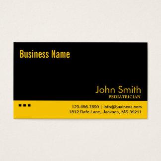 Cartão de visita preto & amarelo do pediatra