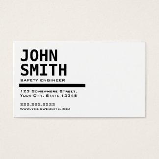 Cartão de visita preto & branco do engenheiro de