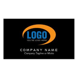Cartão de visita preto clássico com logotipo