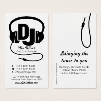 Cartão de visita preto e branco do promotor do DJ