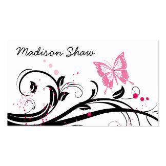 cartão de visita preto e cor-de-rosa da borboleta
