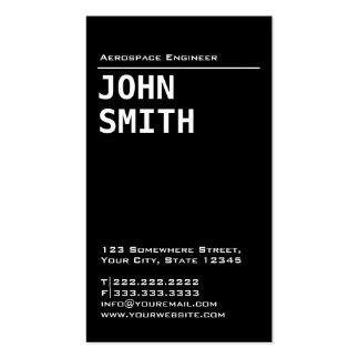 Cartão de visita preto simples do engenheiro