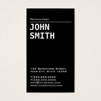 Cartão de visita preto simples do psiquiatra
