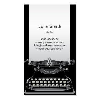 Cartão de visita preto velho do escritor da máquin
