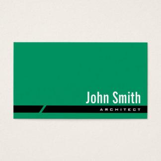 Cartão de visita preto verde liso do arquiteto da