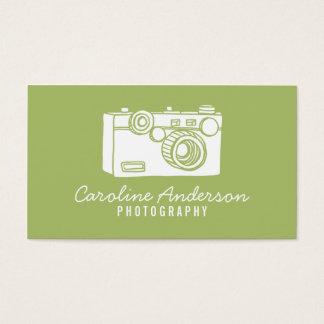 Cartão de visita retro verde do fotógrafo da