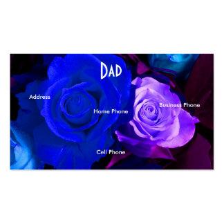 Cartão de visita roxo azul dos rosas do pai