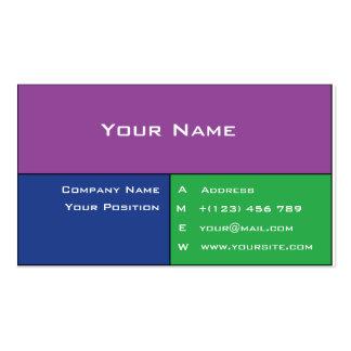 Cartão de visita roxo, azul e verde