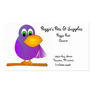 Cartão de visita roxo do pássaro dos desenhos anim