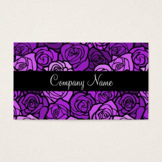 Cartão de visita roxo dos rosas do vintage