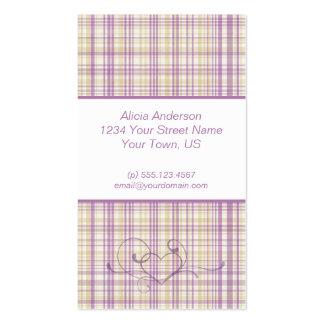Cartão de visita roxo e amarelo da xadrez