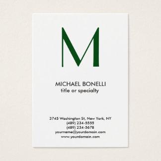 Cartão de visita simples branco do verde na moda