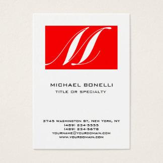 Cartão de visita simples branco vermelho do