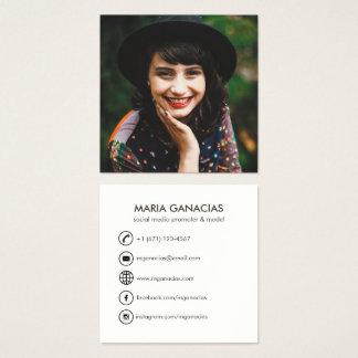 Cartão de visita social dos meios da foto simples