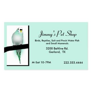 Cartão de visita verde da loja do animal de