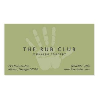 Cartão de visita verde da terapia da massagem de