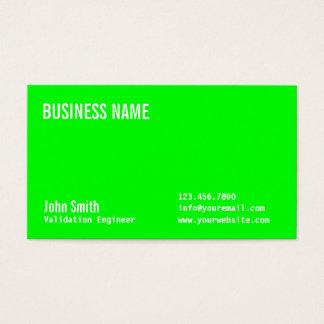 Cartão de visita verde de néon do engenheiro da