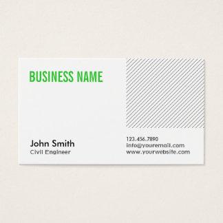 Cartão de visita verde do engenheiro civil do