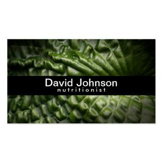 Cartão de visita verde do nutricionista da folha