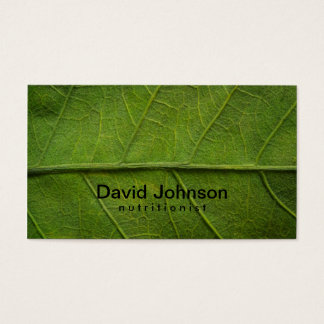 Cartão de visita verde do nutricionista da textura
