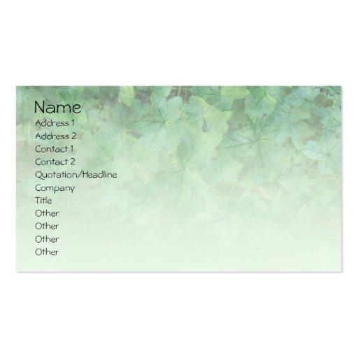 Cartão de visita verde do perfil da hera