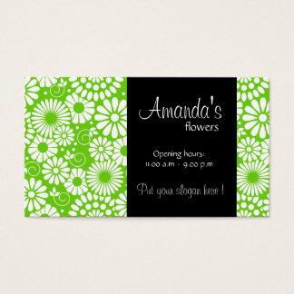 Cartão de visita verde floral do vintage
