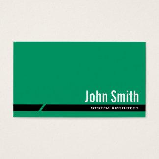 Cartão de visita verde liso do arquiteto do