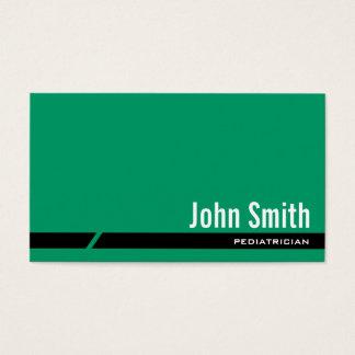 Cartão de visita verde liso do pediatra