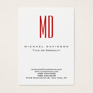 Cartão de visita vermelho branco do monograma na