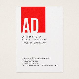 Cartão de visita vermelho do branco do monograma